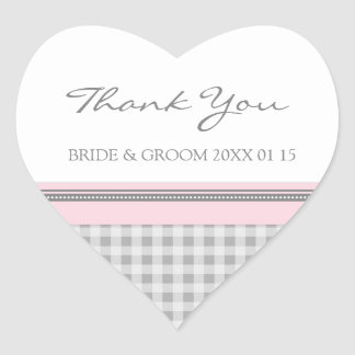 Grey Pink Gingham Thank You Wedding Favor Tags Heart Sticker