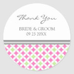 Grey Pink Lime Thank You Wedding Favor Tags Stickers