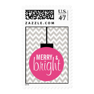 GREY PINK Merry & Bright Chevron Holiday Postage
