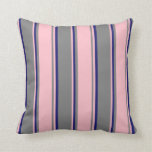 [ Thumbnail: Grey, Pink & Midnight Blue Colored Lined Pattern Throw Pillow ]
