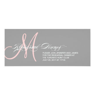 Grey Pink Rehearsal Dinner Invitation Monogram