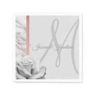 Grey & Pink Rose Gold Foil Marble Wedding Napkin