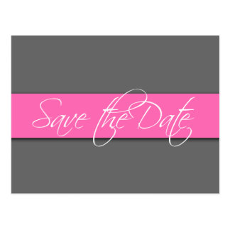 Grey Pink Save the Date Postcard