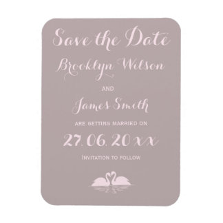 Grey Pink Swan Wedding Save The Date Magnets