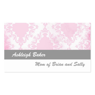 Grey, Pink Vintage Damask Mommy Calling Card Business Card Template