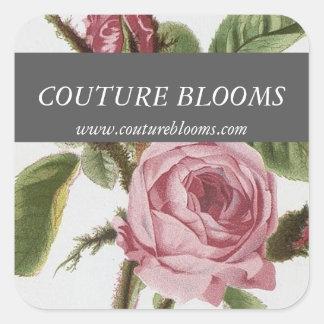 Grey Pink Vintage Rose Florist Square Stickers