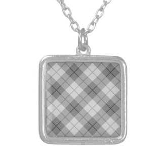Grey Plaid Silver Plated Necklace