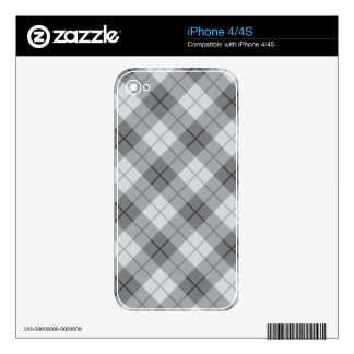 Grey Plaid Skins For iPhone 4S