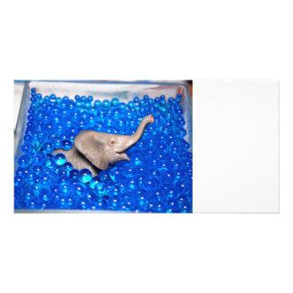 grey plastic elephant in blue balls photo greeting card