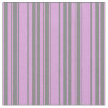 [ Thumbnail: Grey & Plum Colored Stripes Fabric ]
