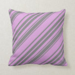 [ Thumbnail: Grey & Plum Colored Stripes Throw Pillow ]
