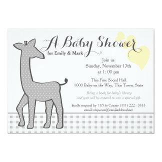 Grey Polka-dot Giraffe Baby Shower Card