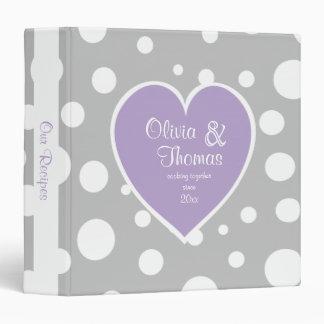 Grey Polka Dot Pattern and Heart Purple 3 Ring Binder