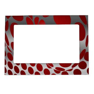 Grey Polka Dots Photo Frame Magnets