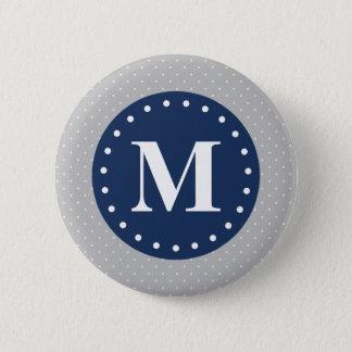 Grey Polka Dots Navy Blue Monogram Button