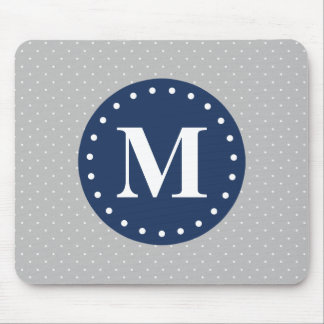 Grey Polka Dots Navy Blue Monogram Mouse Pad