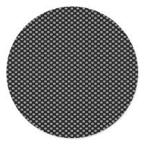 Grey Polka Dots on Black Classic Round Sticker