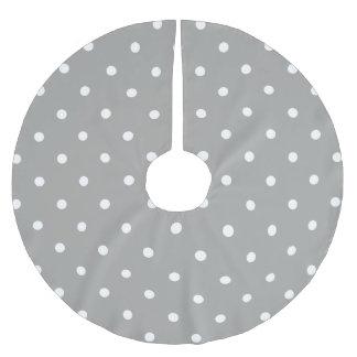 Grey Polka Dots Pattern Brushed Polyester Tree Skirt