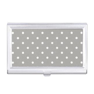 Grey Polka Dots Pattern Business Card Case
