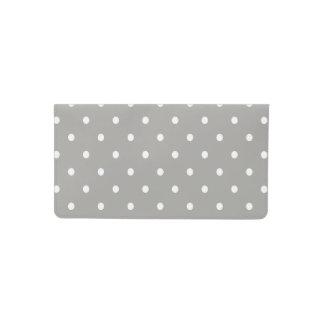 Grey Polka Dots Pattern Checkbook Cover