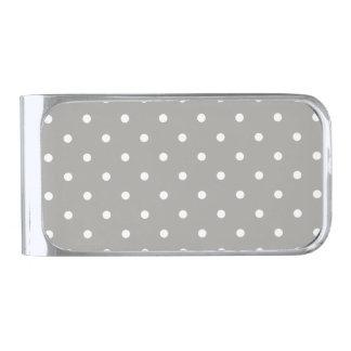 Grey Polka Dots Pattern Silver Finish Money Clip