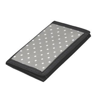 Grey Polka Dots Pattern Trifold Wallet