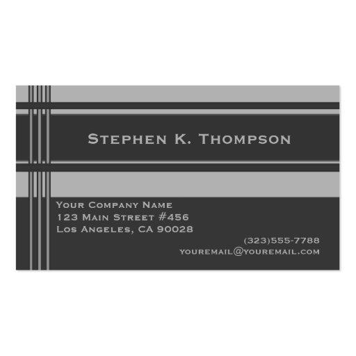 Grey Professional Stripes Block Business Card