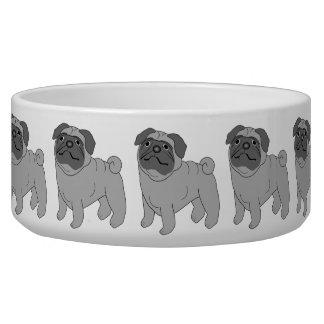Grey Pug Dog Design Bowl