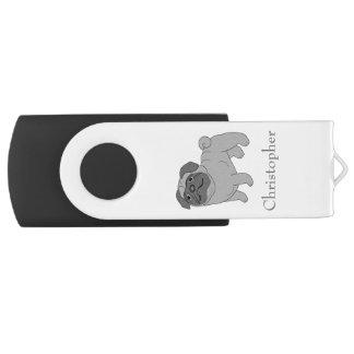 Grey Pug Dog Just Add Name Swivel USB 2.0 Flash Drive