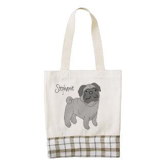 Grey Pug Dog Just Add Name Zazzle HEART Tote Bag