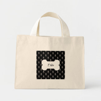 Grey Pug Silhouettes on Black Background Mini Tote Bag