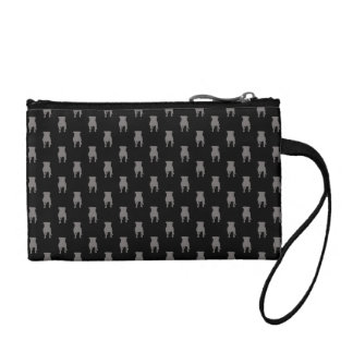 Grey Pug Silhouettes on Black Background Coin Purses