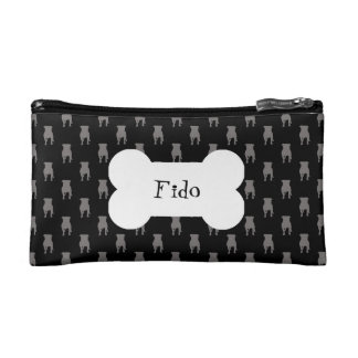 Grey Pug Silhouettes on Black Background Cosmetic Bags