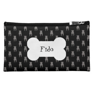 Grey Pug Silhouettes on Black Background Cosmetic Bag