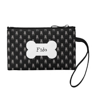 Grey Pug Silhouettes on Black Background Coin Wallet