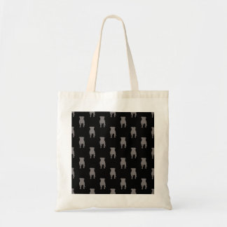 Grey Pug Silhouettes on Black Background Budget Tote Bag