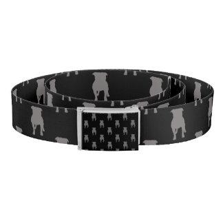 Grey Pug Silhouettes on Black Background Belt