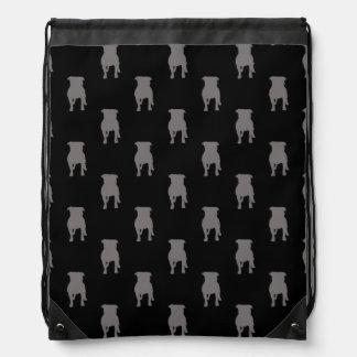 Grey Pug Silhouettes on Black Background Drawstring Bag