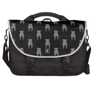 Grey Pug Silhouettes on Black Background Laptop Computer Bag