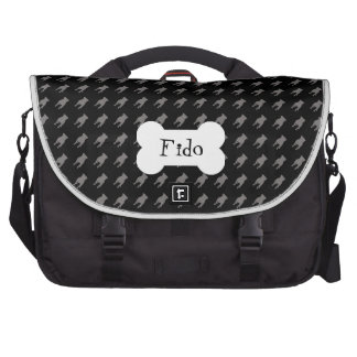 Grey Pug Silhouettes on Black Background Laptop Bag