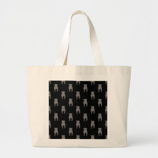 Grey Pug Silhouettes on Black Background Large Tote Bag