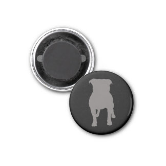 Grey Pug Silhouettes on Black Background Magnet