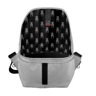 Grey Pug Silhouettes on Black Background Messenger Bags