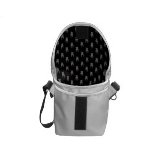 Grey Pug Silhouettes on Black Background Messenger Bag