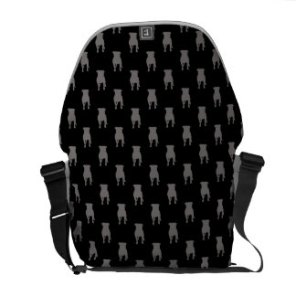 Grey Pug Silhouettes on Black Background Courier Bags