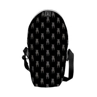 Grey Pug Silhouettes on Black Background Courier Bag