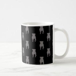 Grey Pug Silhouettes on Black Background Basic White Mug