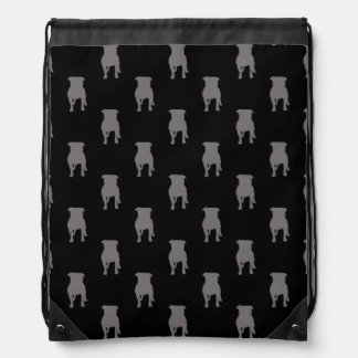 Grey Pug Silhouettes on Black Background Drawstring Bags