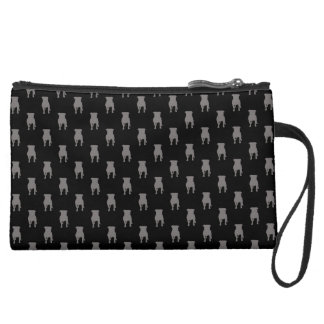 Grey Pug Silhouettes on Black Background Suede Wristlet Wallet