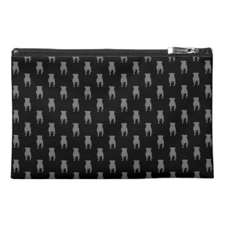 Grey Pug Silhouettes on Black Background Travel Accessories Bag